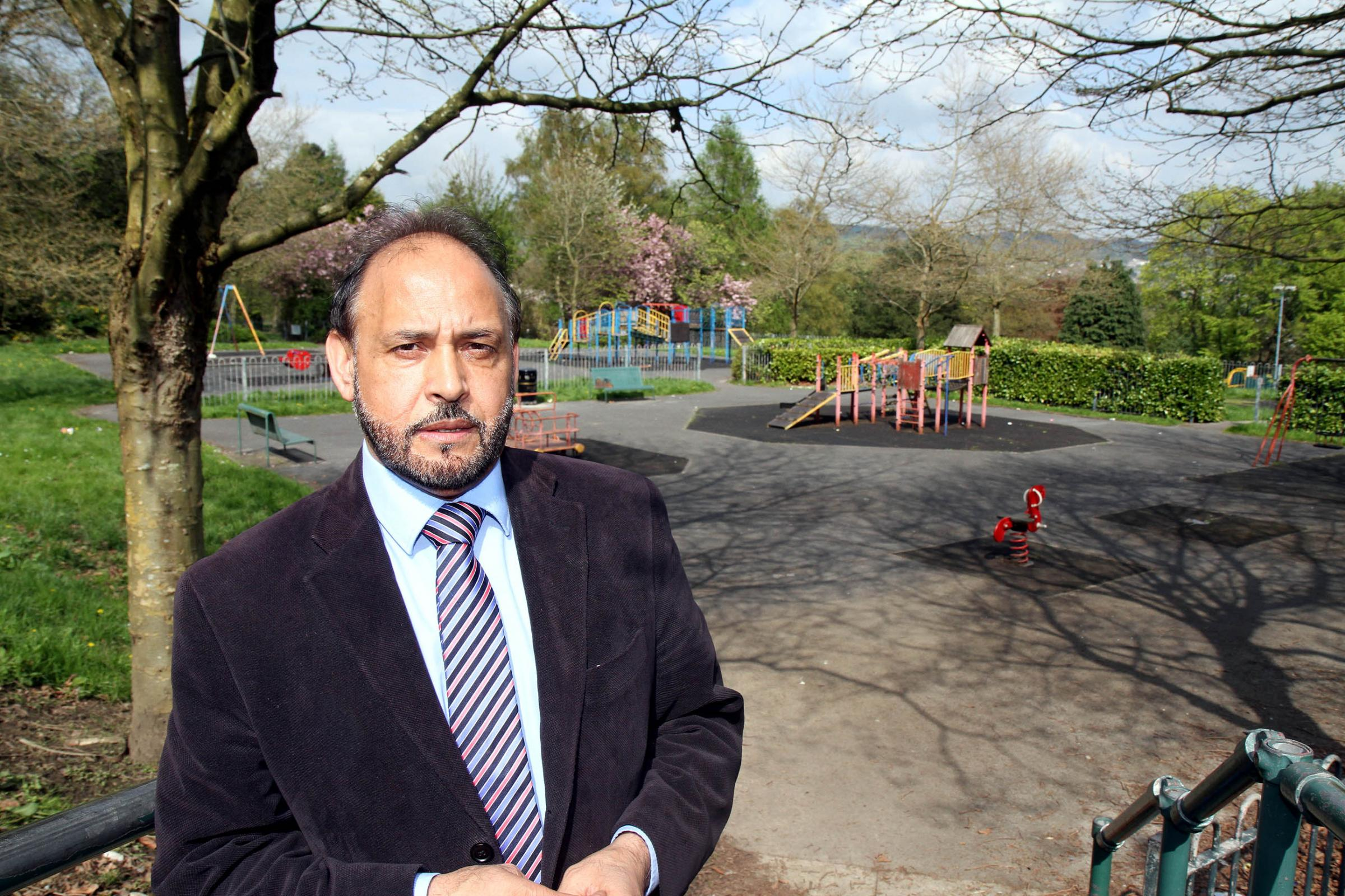 Councillor Abid Hussain at the children's play area in Devonshire Park