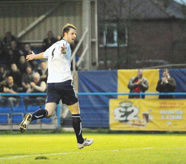 Adam Boyes celebrates after shooting Guiseley ahead against North Ferriby on Wednesday night