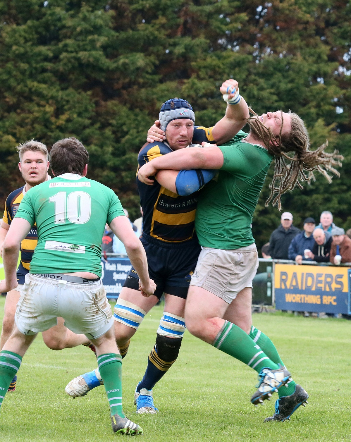 Wharfedale tackler Aaron Myers is halted in no uncertain terms at Worthing. Picture: Warwick Baker