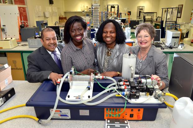 From left, Professor Julian Chaudhuri, Giety Mbroh, Beatrice Williams and Beryl Eakin at the Bradford University School of Engineering which received £121,000 from Soroptomist International of Bradford