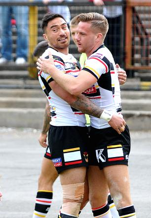 Jamie Foster, pictured after scoring against Warrington at the weekend, was dropped over his defensive frailties