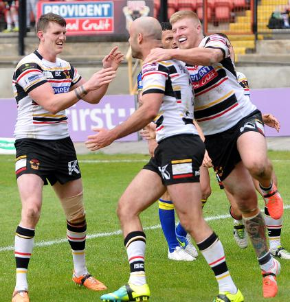 Adrian Purtell was the toast of his team-mates after scoring twice against Warrington