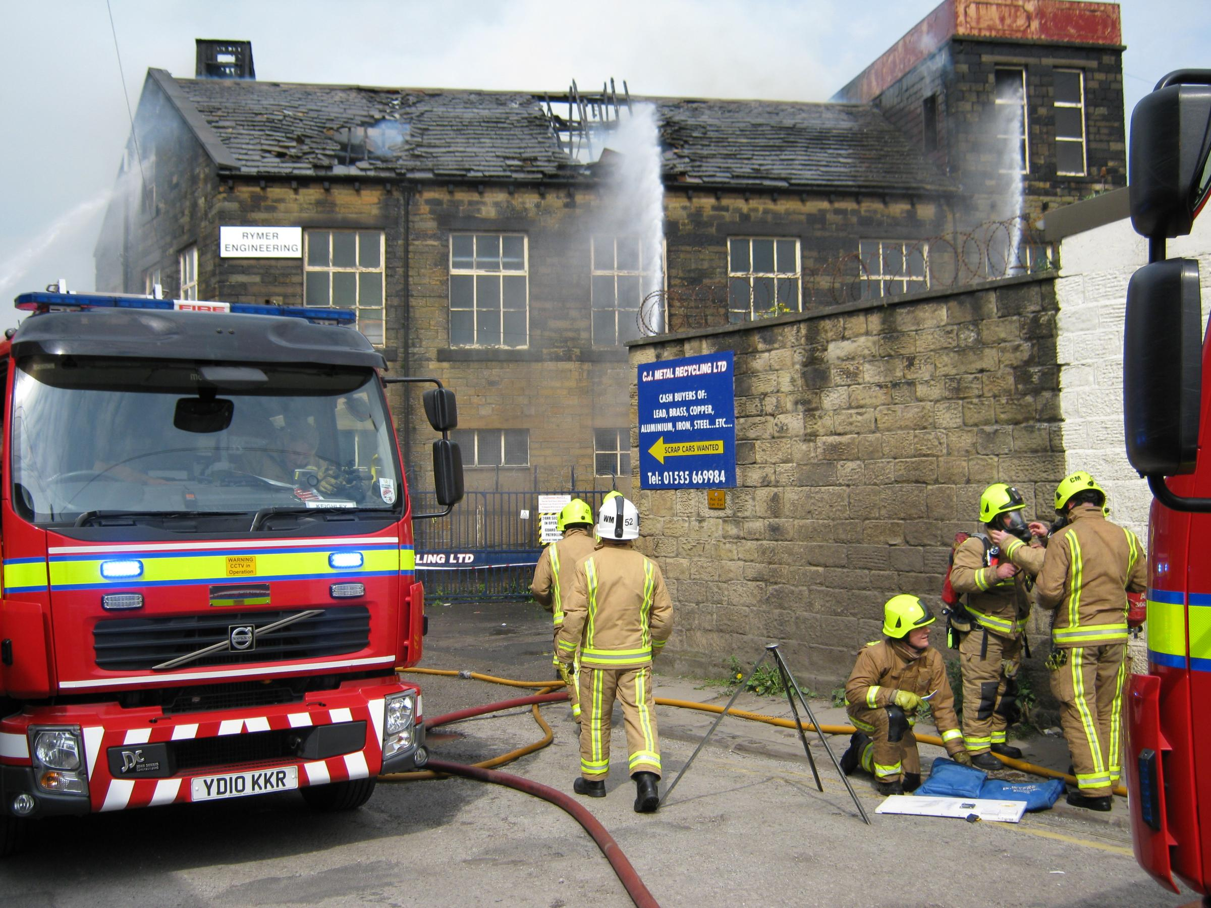 Fire rages through former engineering works in Keighley