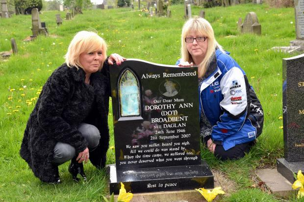 Bradford Telegraph and Argus: Mariyl Broadbent (left) and Cherie Watson at the vandalised grave of their mother in Bowling Cemetery
