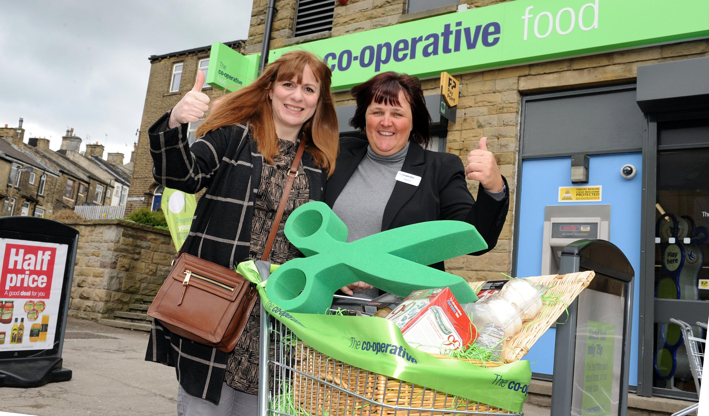 Sarah Dean, who opened the new Co-op store, with manager Heather Briggs