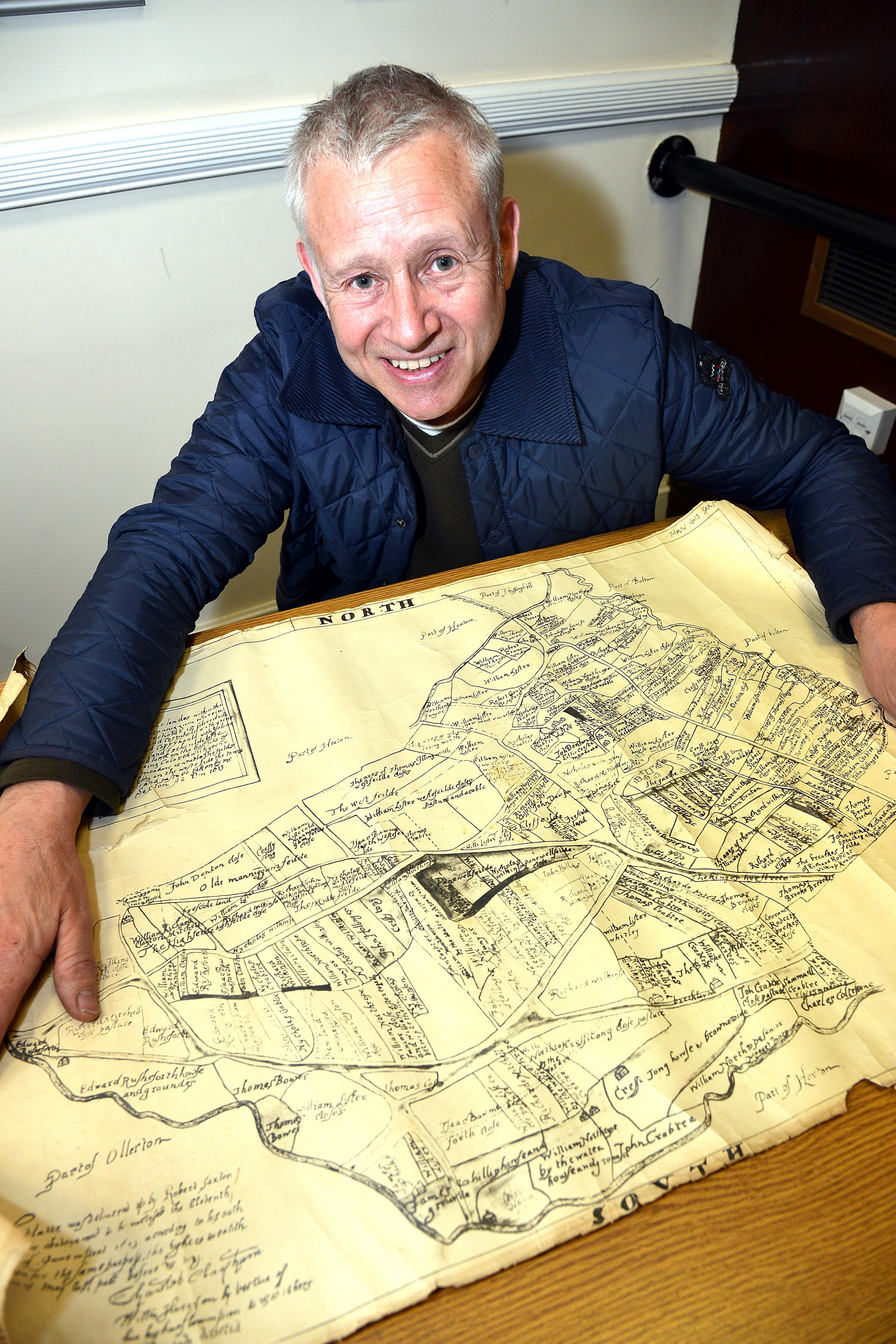 Les Barrett with a map of Bradford from the early 1600s