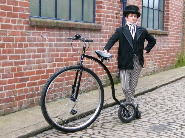 Micky Bimble with one of his penny farthings
