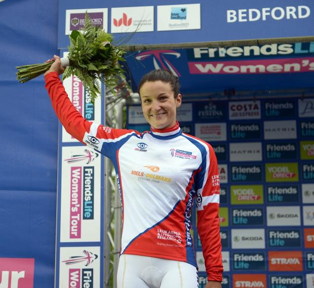 Lizzie Armitstead on the podium at Bedford after winning the Best of British award
