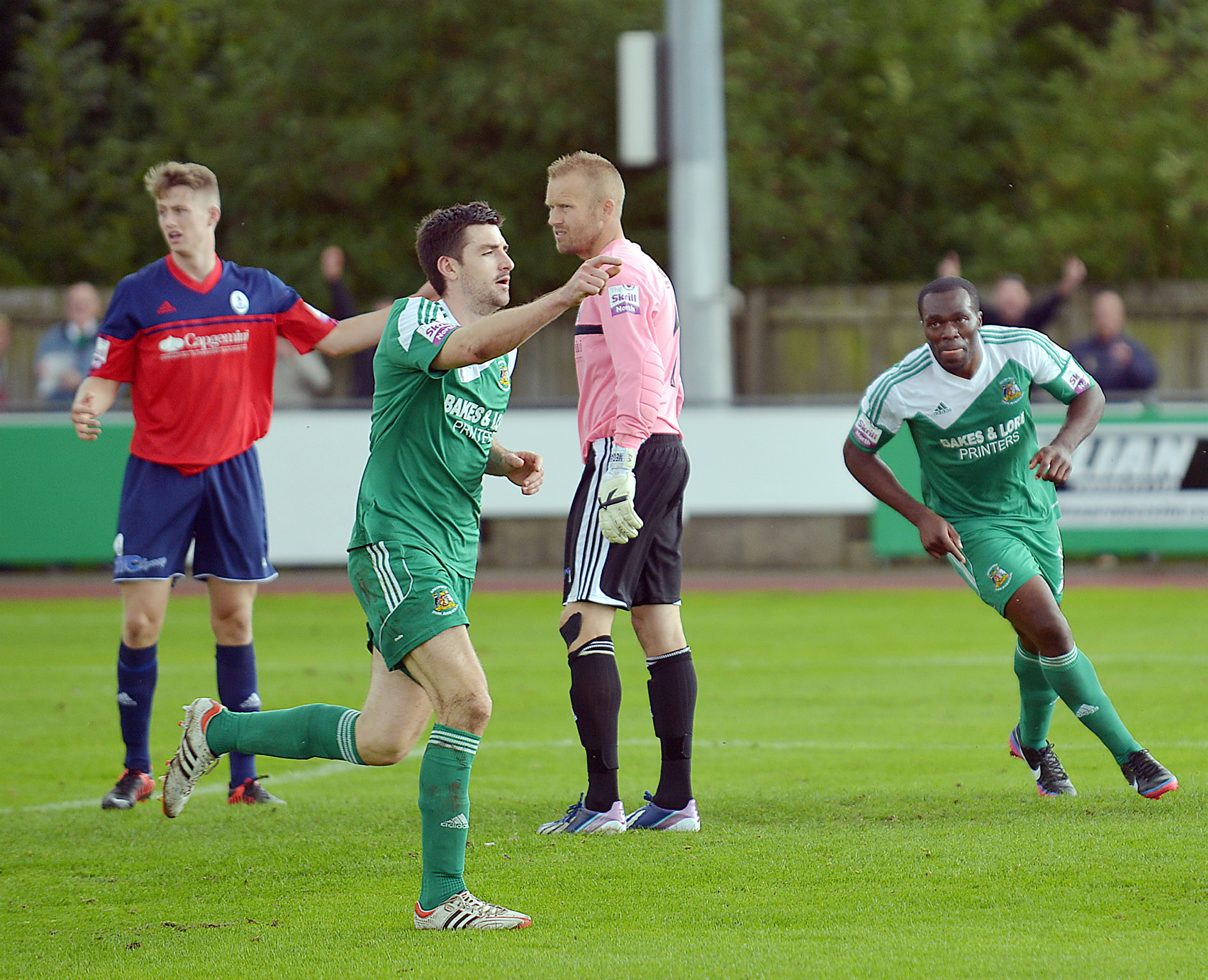 HIGH POINT: Nicky Boshell celebrates scoring in Park Avenue's 3-1 win over title winners AFC Telford during September, which saw John Deacey claim the manager of the mo