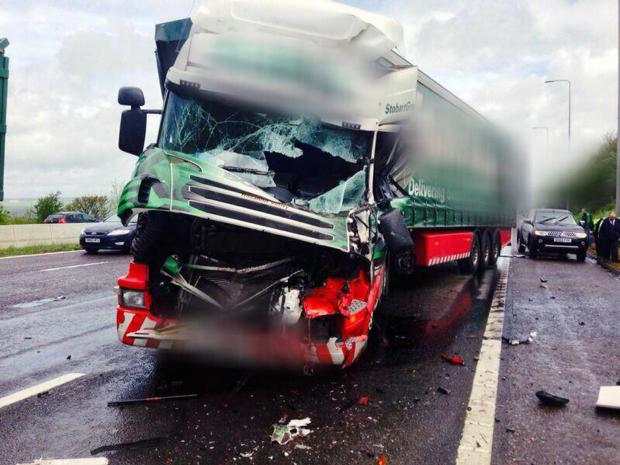 Delays after M62 lorries collision