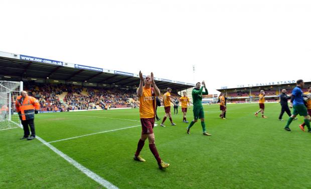 Bradford Telegraph and Argus: Departing skipper Gary Jones leads the applause at City's last home game of the season