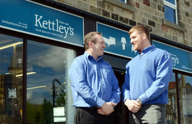 Bradford Telegraph and Argus: David Butler and Andrew Collop outside the Kettley's furniture store in Yeadon