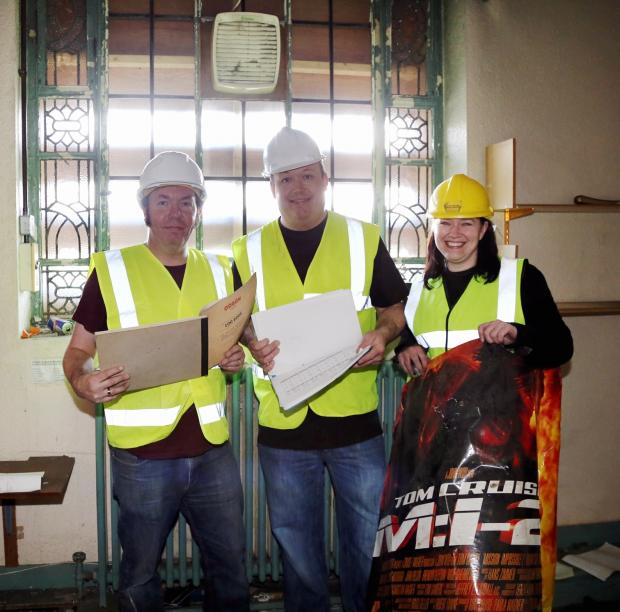 From left, Mark Nicholson, Matt Shaw and Vicky Leith in the Thornton Road tower of the Odeon