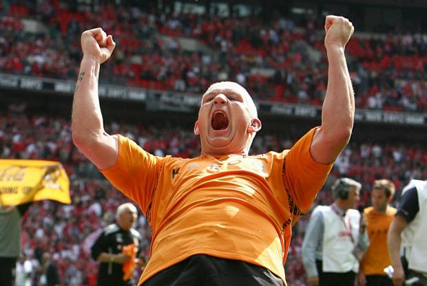Dean Windass celebrates Hull City's victory in the 2008 Championship play-off final