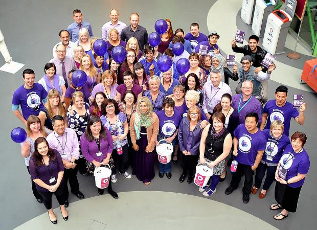 Bradford University staff dress in purple to show their support for the Crocus Appeal