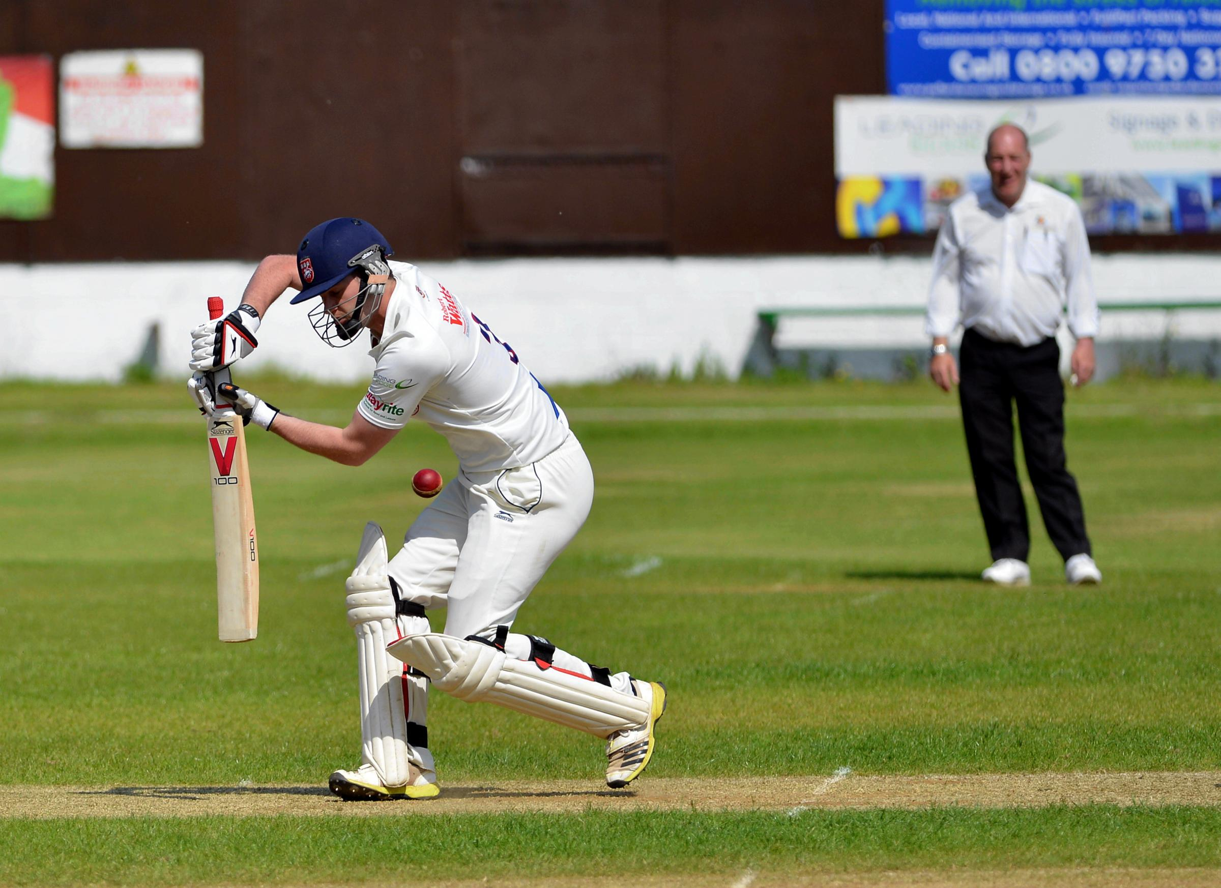 STRAIGHT BAT: Cleckheaton's James Lee in action against New Farnley