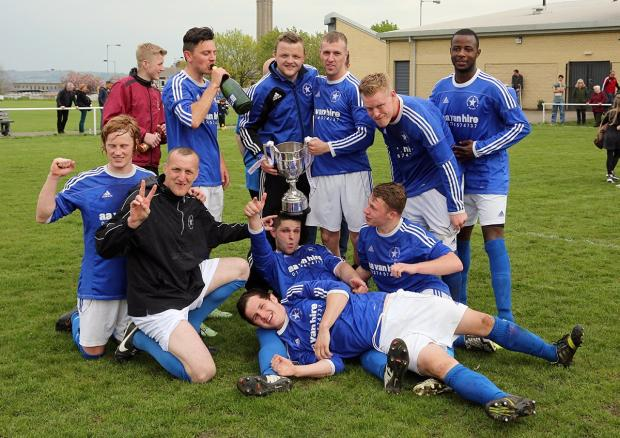 Buttershaw White Star celebrate their League Cup final win over West Bowling. Picture: Alex Daniel Photography