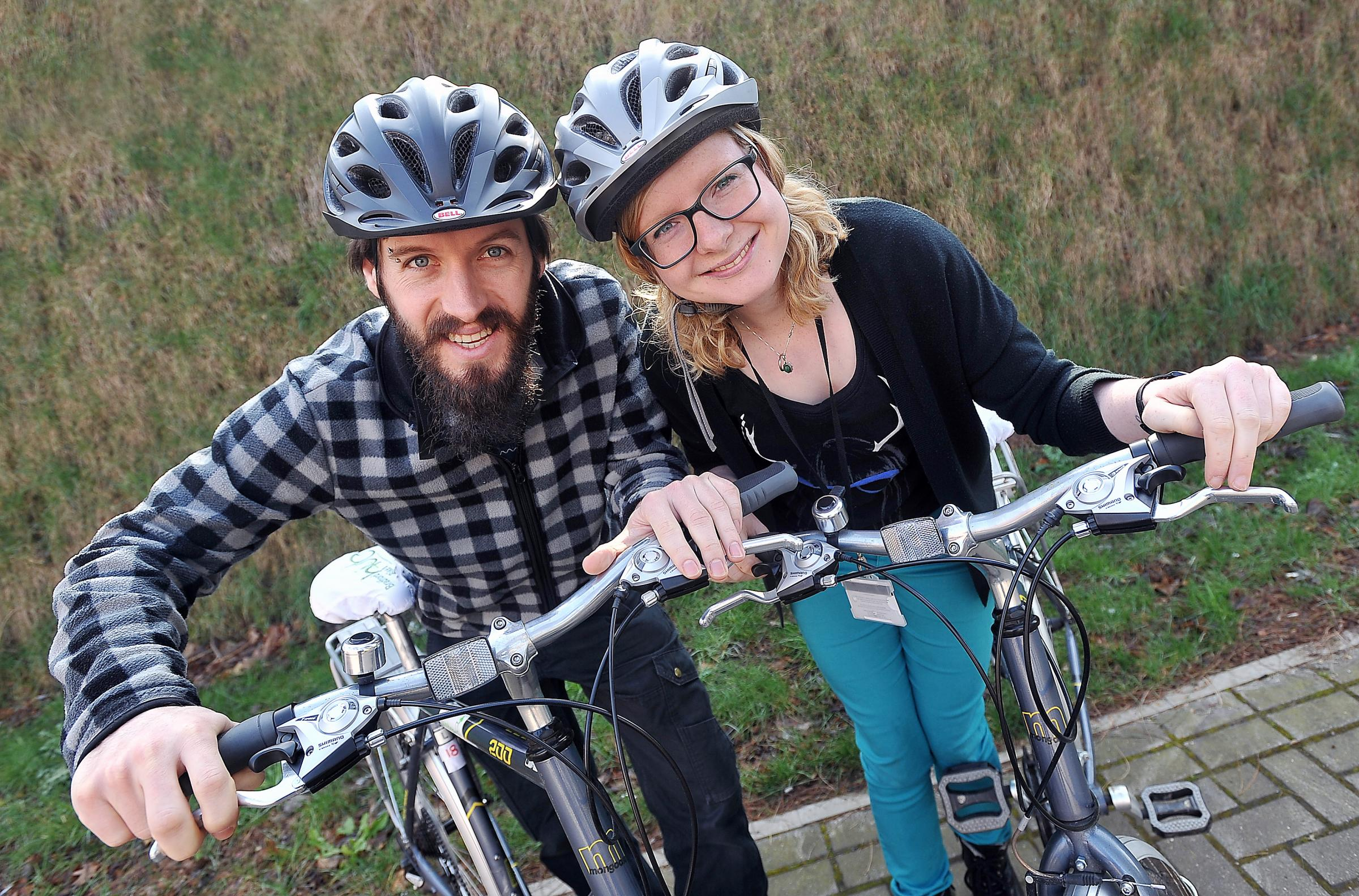 Jennie O'Hara and Chris Kilburn of sustainable transport organisationSustrans, which is a partner in the  'green street' initiative
