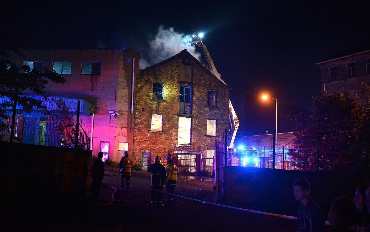 Firefighters tackle the blaze at the former Seabrook factory on Monday night