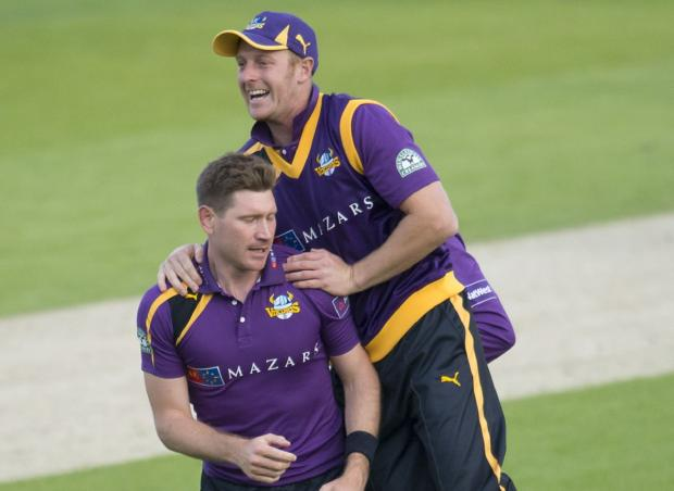 Andrew Gale celebrates a Richard Pyrah victim during the defeat against Northamptonshire