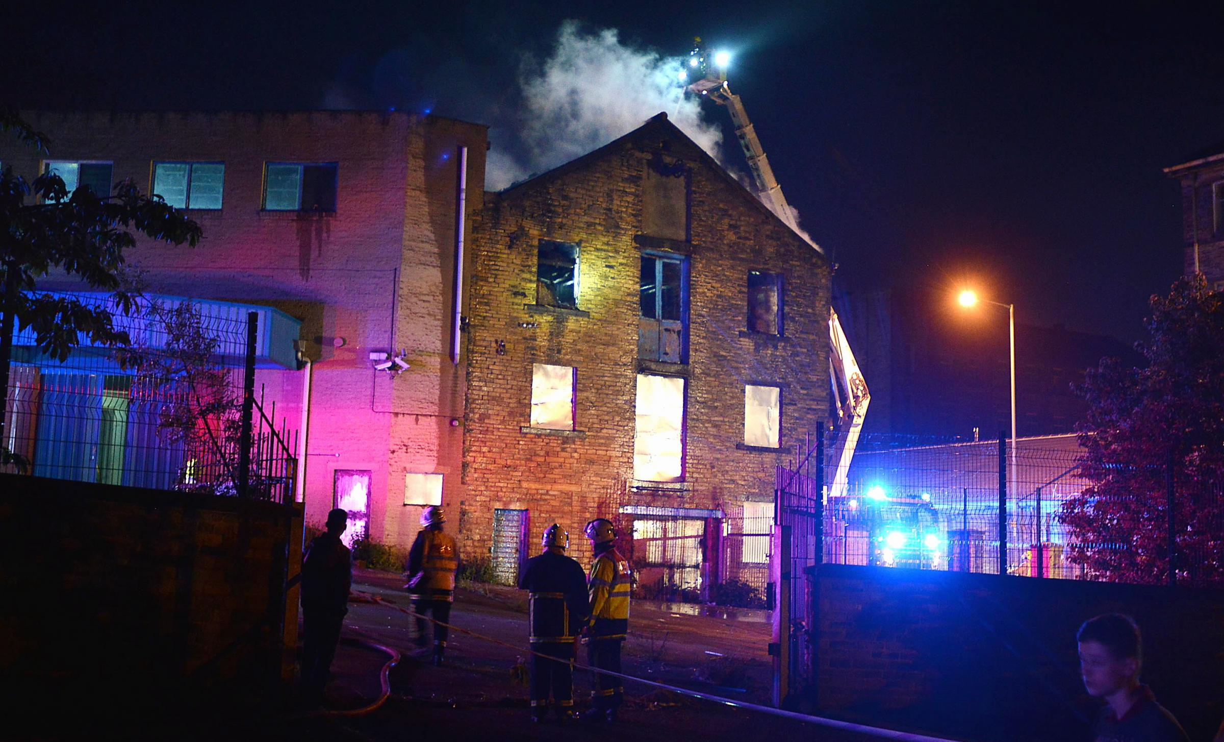 Firefighters tackle the factory fire on Monday night