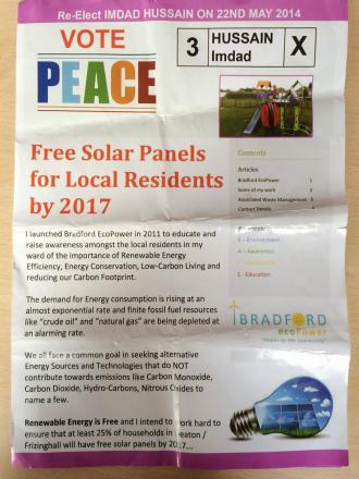 A canvassing leaflet offering free solar panels by 2017