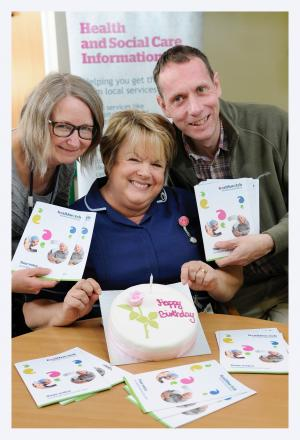 At the Healthwatch birthday celebration are (from left) Karen Dunwoodie, patient experience lead for Airedale NHS Foundation Trust, Brenda Emsley, sister in outpatients at Airedale, and Daniel Park, information officer at Healthwatch Bradford and District