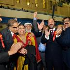 Bradford Telegraph and Argus: Members of Bradford Council's Labour group celebrate with Rizwana Jamil (centre), who won the Bowling and Barkerend seat