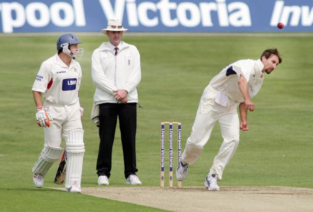 Jason Gillespie bowls for Yorkshire against Lancashire in his playing days