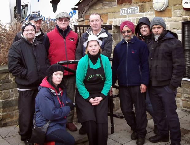 Shipley market traders outside the Market Square toilets which are earmarked for closure by the Council
