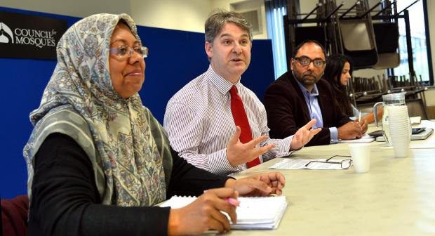 DISCUSSION:  Shipley MP Philip Davies with Selena Ullah, Zulfi Karim and Taiba Yasseen at the debate on niqabs