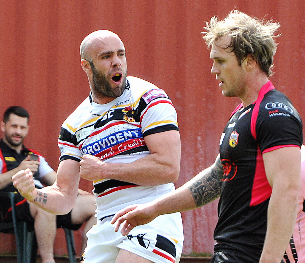 Adrian Purtell celebrates after touching down for the first of his two tries against Wakefield