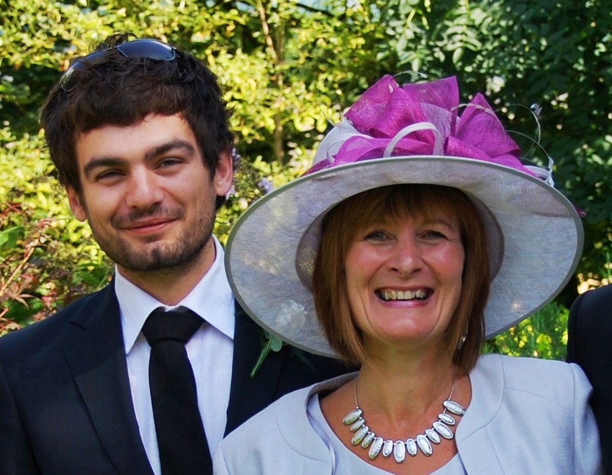 Mum Janet Southwell and her son Gareth Huntley pictured in happier times at a family wedding