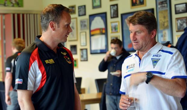 Challenge Cup quarter-final rival coaches Francis Cummins and Tony Smith chew the fat at yesterday's press conference at Odsal