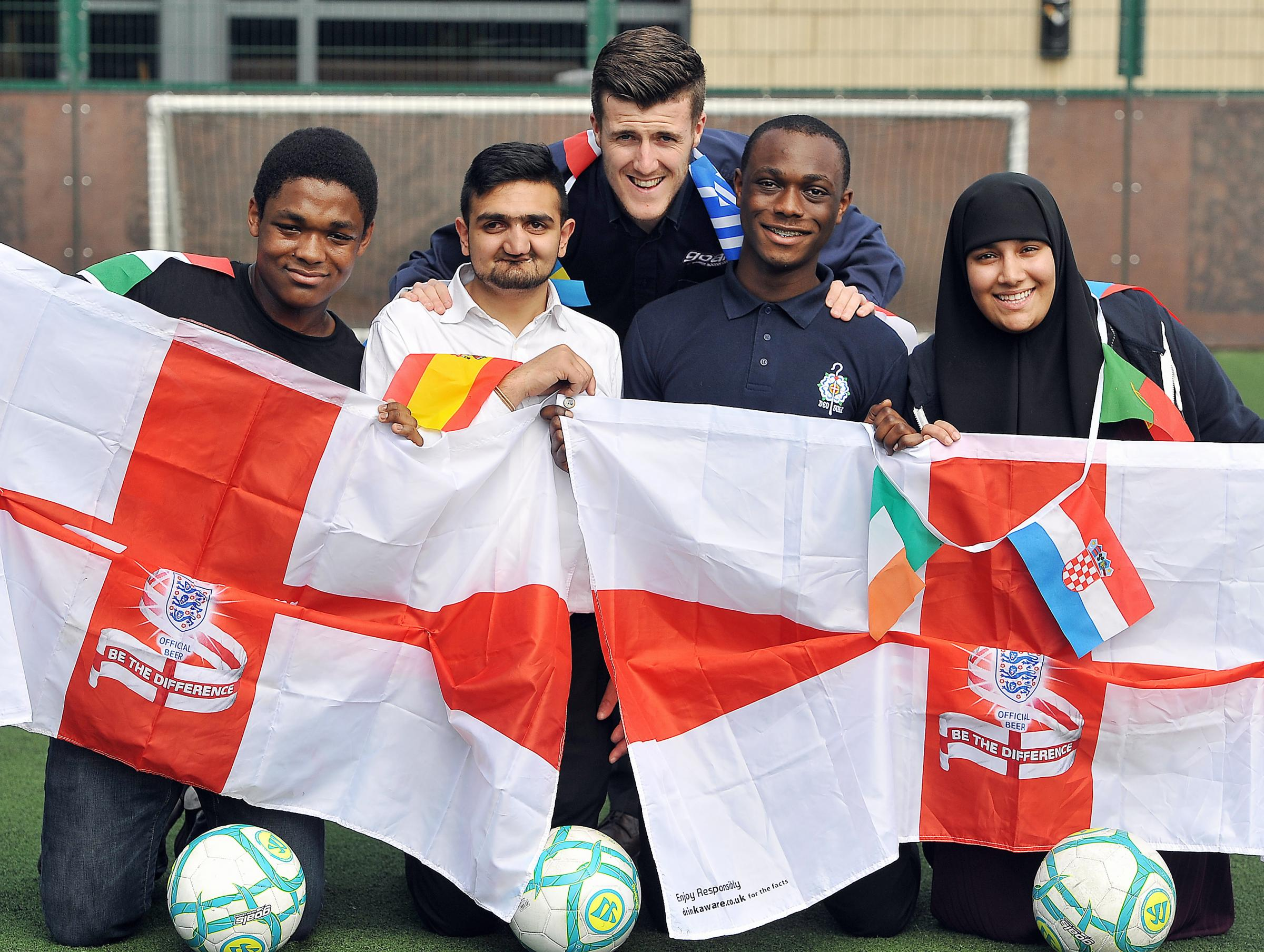 Marcus Strudwick, of Goals, with Jordan Hibbert, Eugene Amponsah, Rahib Shabir and Aisha Saddique
