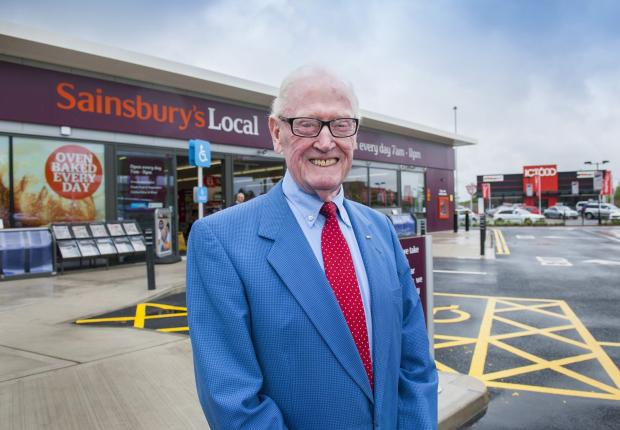 Jack Tordoff at the redeveloped JCT600 roundabout site with the new Sainsbury's Local