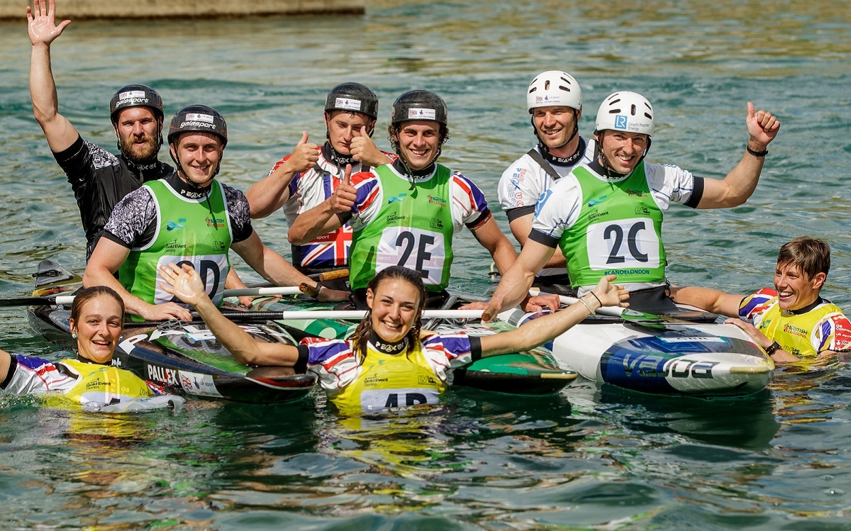 Beth Latham (middle front) helps Great Britain celebrate their team victories at Lee Valley