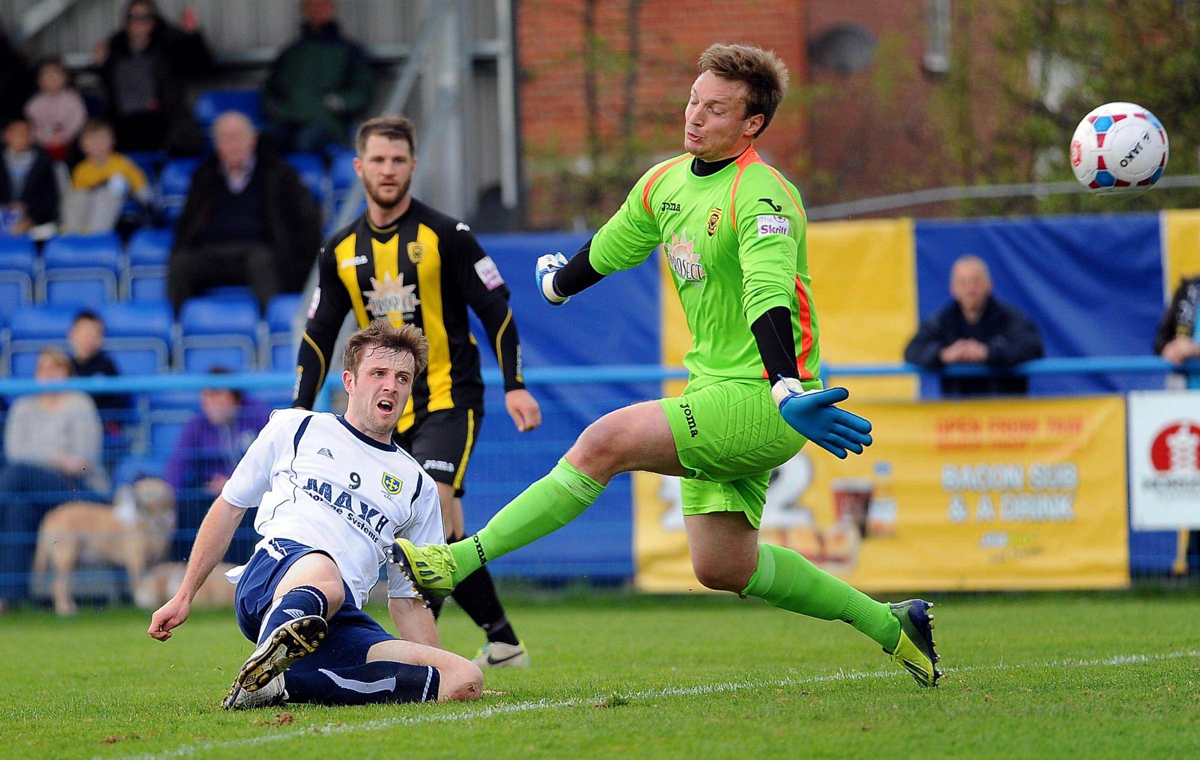 Adam Boyes scores in the home win over Gloucester City as Guiseley roared into the play-offs