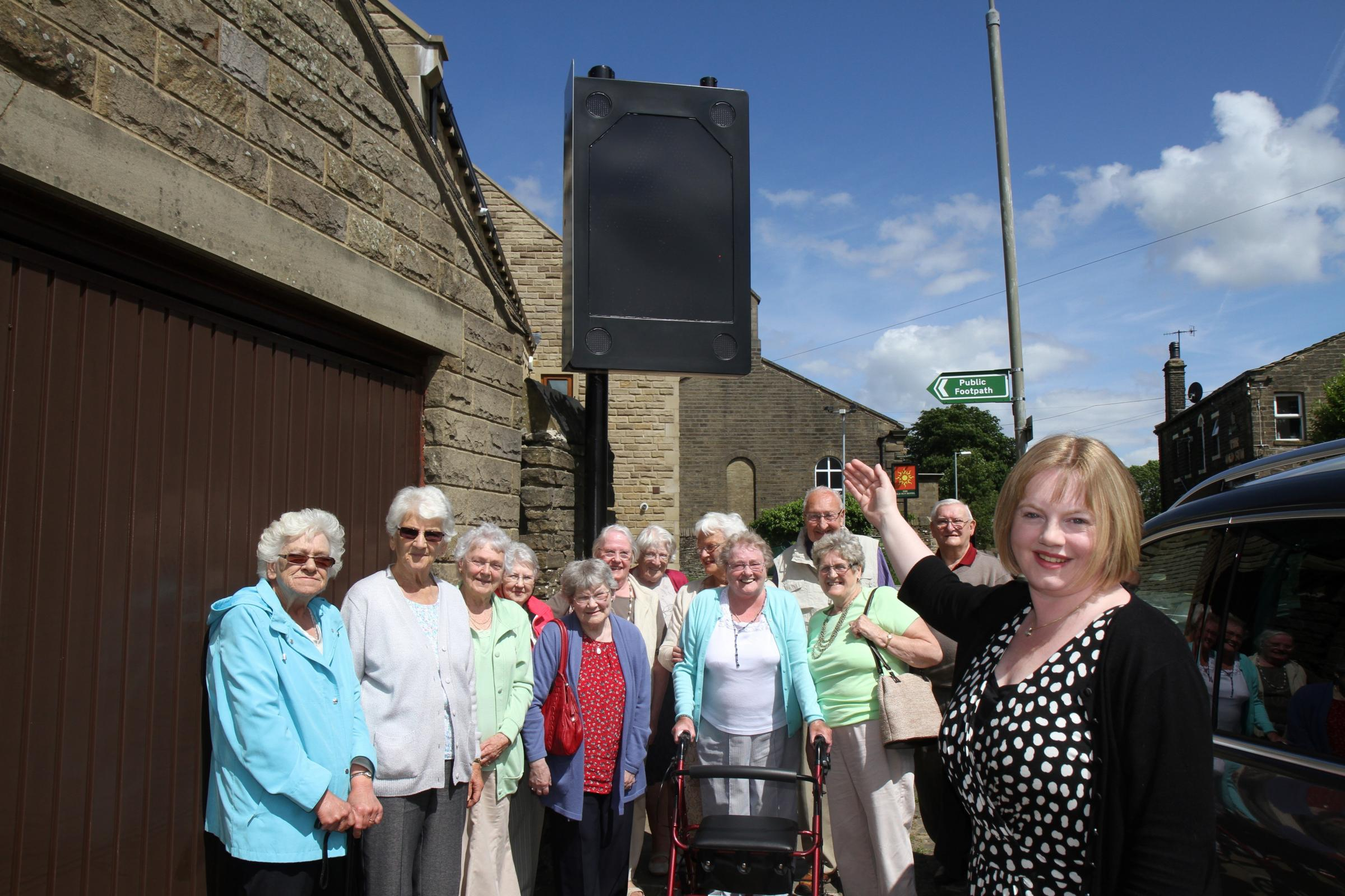 Electronic speed warning sign installed in West Lane, Haworth