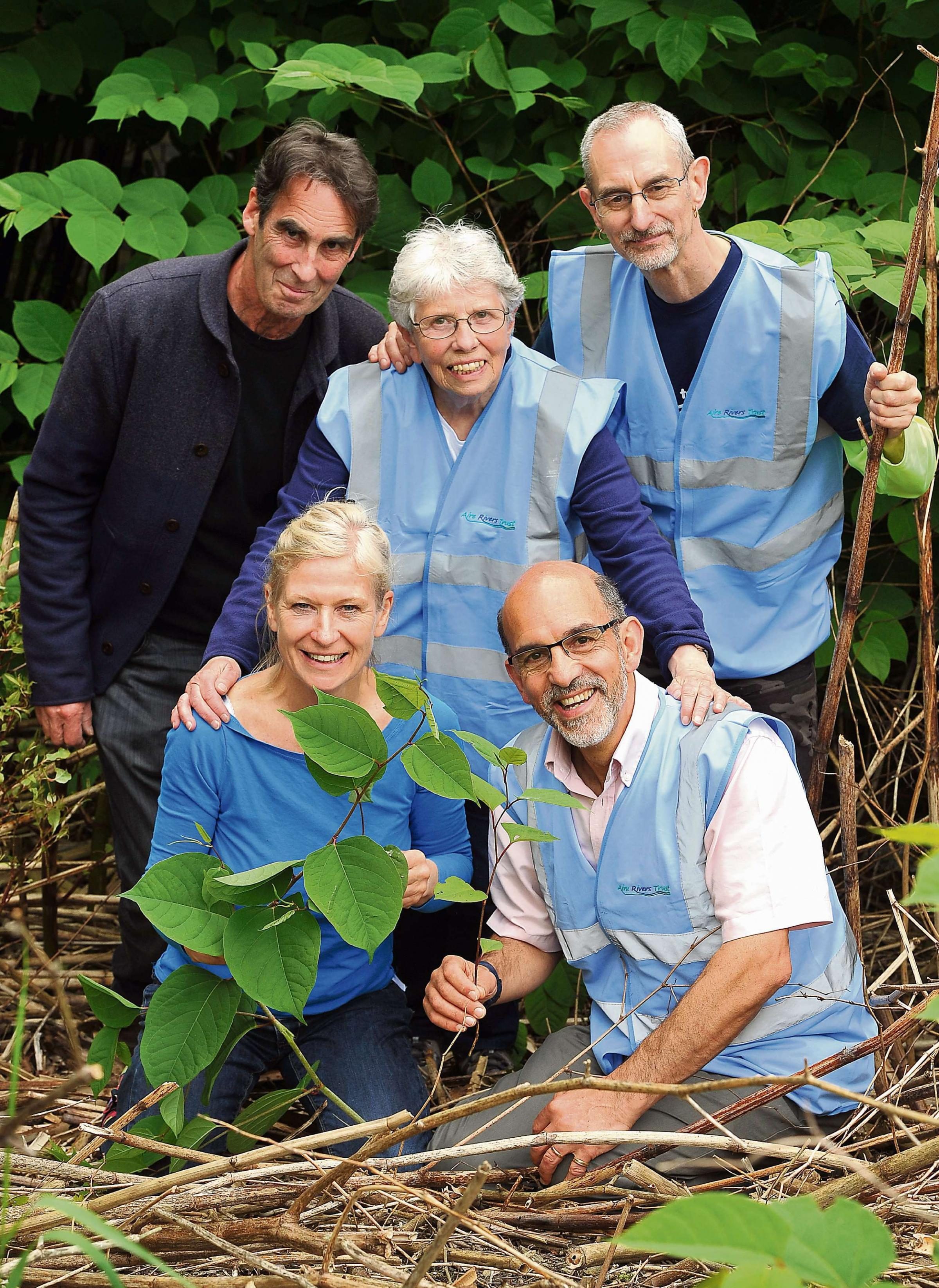 APPEAL: Friends of Bradford's Becks, (from left), Francis Wilson, Rose Reeve, Graham Glover, Sarah Dixon and Barney Lerner with some of the Japanese Knotweed they are trying to destroy