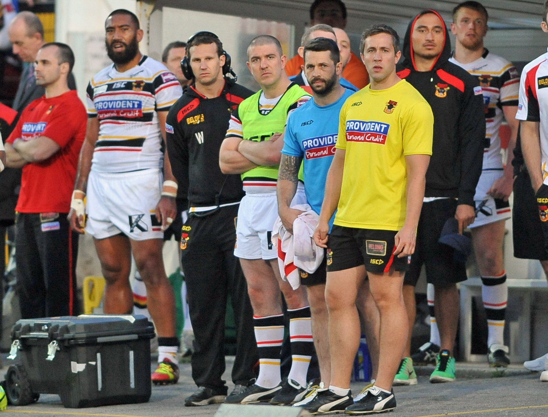 Matt Diskin looks on from the touchline during the defeat to Hull KR