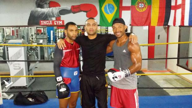 Nadeem Siddique, centre, with, Kid Galahad (left) and Kell Brook