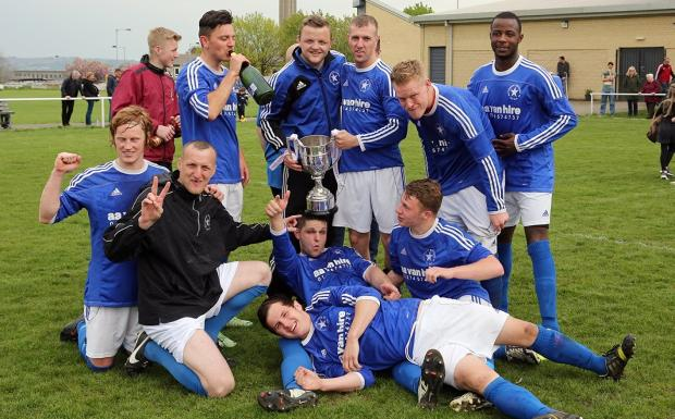 Buttershaw White Star players celebrate another cup final win – Picture: Alex Daniel