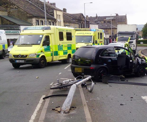 Woman injured in Keighley road crash