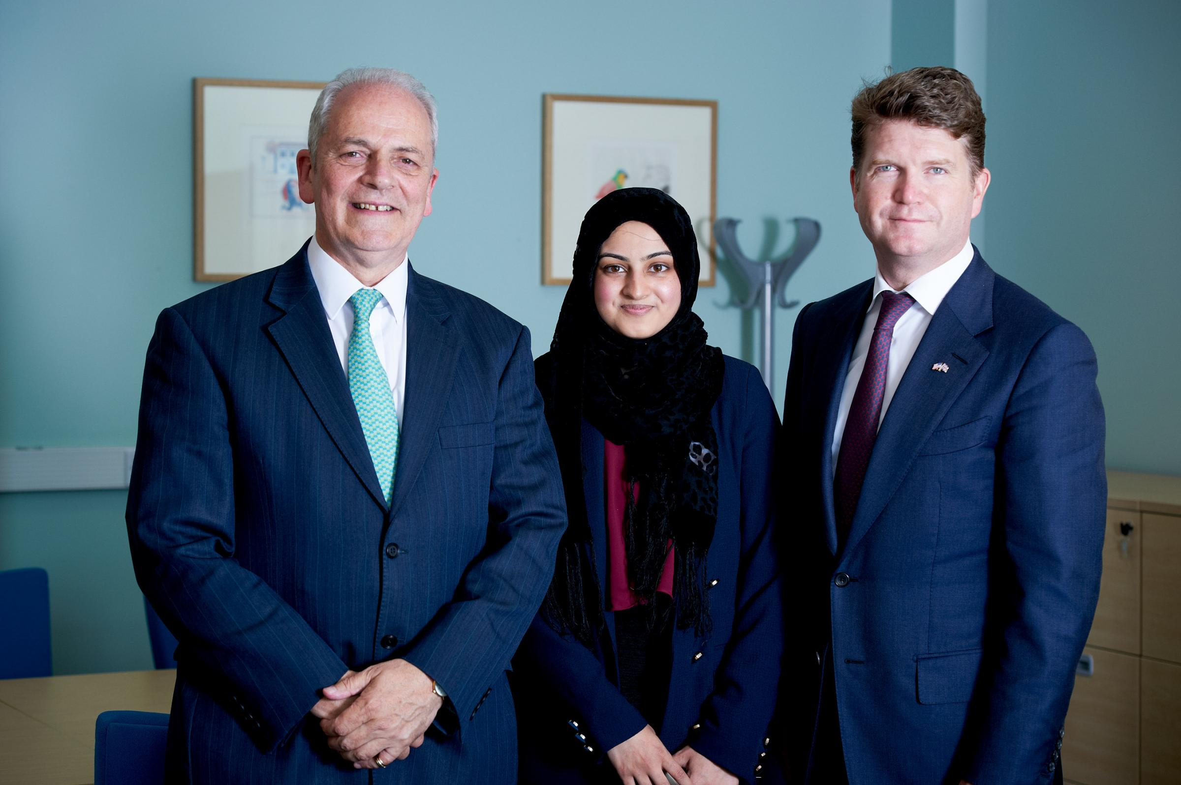 Zeynab Ahmed with US Ambassador Matthew Barzun (right) and Professor Brian Cantor, v