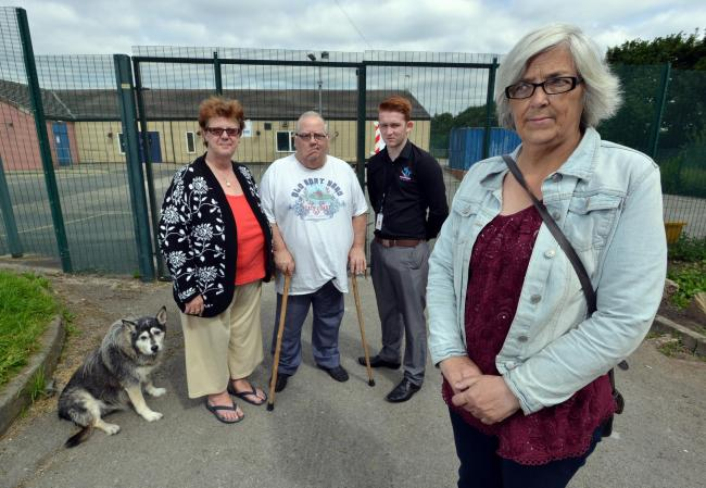 ROW: Cllr Ann Wallace with residents and users of Fagley Youth and Community Centre where the locks were changed to keep them out