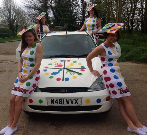 TWISTER: 'Round the Twist' team fundraisers who embarked on the Monte Carlo banger rally to boost funds for Bradford & District RSPCA.