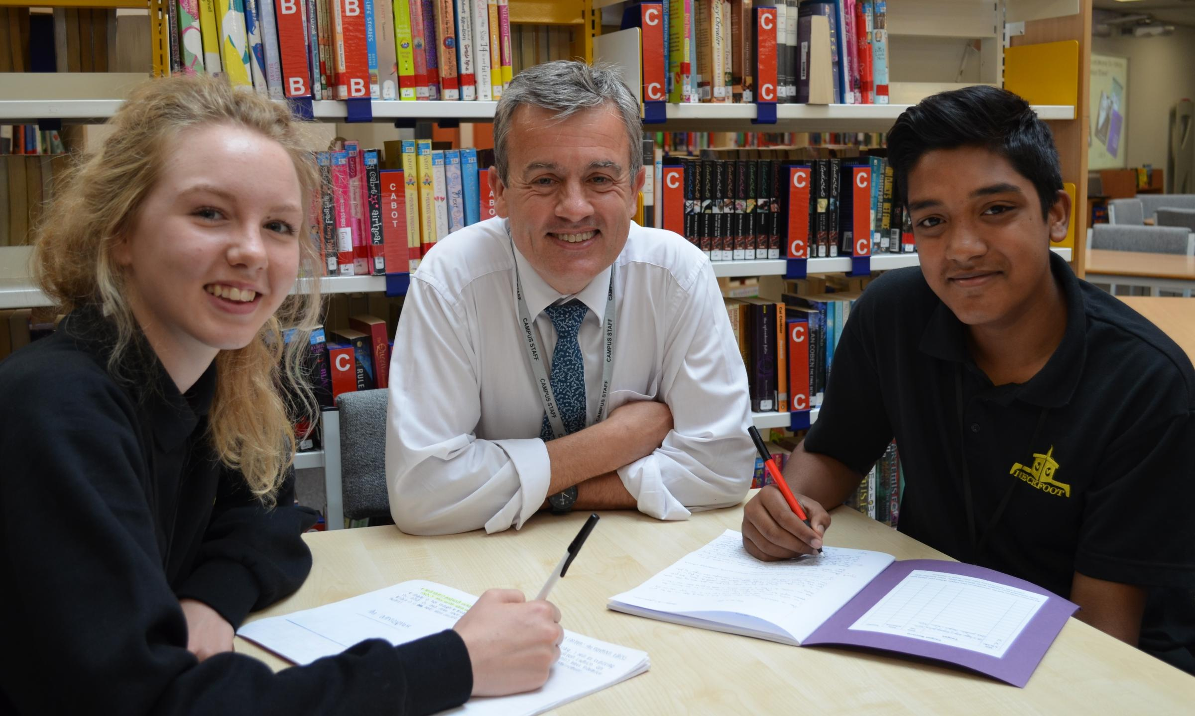 Alice Page, pictured with headteacher David Horn and Rahaat Rahman.