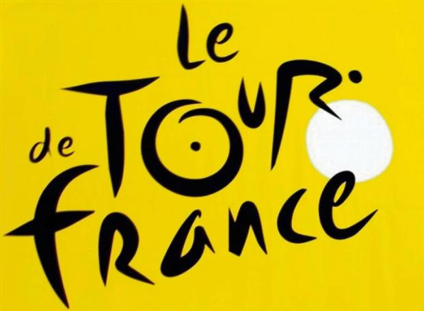 ** FILE ** View of the Tour de France cycling race's official logo logo, photographed on the Tour de France registration podium, prior to the 4th stage of the 93rd Tour de France cycling race between Huy, Belgium, and Saint-Quentin, northern France, i