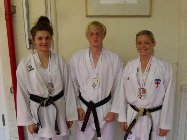Three of Leeds Karate Academy's British medallists – from left: Emelye O'Brien, David Lister and Ashley Scott. Missing is James Brown